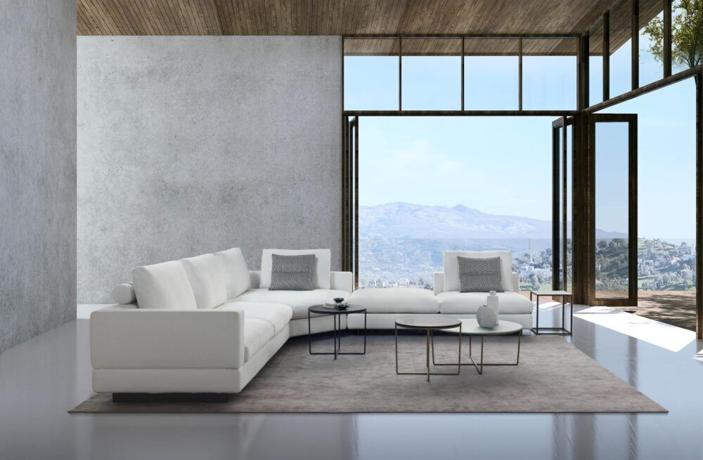 The empty lounge and modern living room and concrete wall texture and sea view